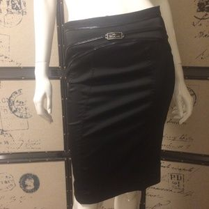 Behcetti black pencil skirt with lace sides